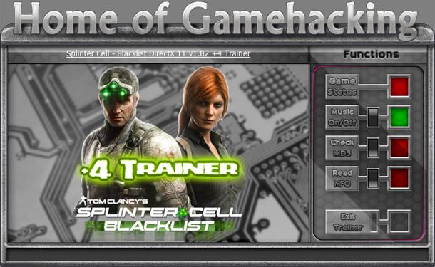 Tom Clancy's Splinter Cell: Blacklist v1.02 DX11 +4 Trainer [HoG]